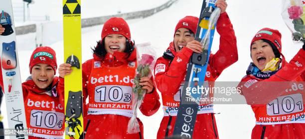 Gold medalists Sara Takanashi Yuka Seto Kaori Iwabuchi and Yuki Ito of Japan celebrate after winning the Women's Team duirng day two of the FIS Ski...