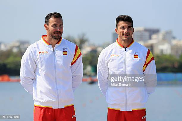Gold medalists Saul Craviotto and Cristian Toro of Spain stand on the podium during the medal ceremony for the Men's Kayak Double 200m event at the...