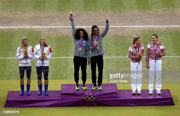 Gold medalists Serena Williams of the United States and Venus Williams of the United States , silver medalists Lucie Hradecka of Czech Republic and...