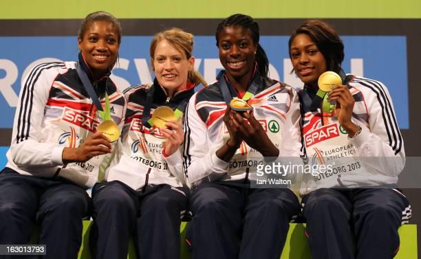 Gold medalists Shana Cox Eilidh Child Christine Ohuruogu and Perri ShakesDrayton of Great Britain and Northern Ireland pose during the victory...