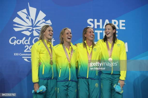 Gold medalists Shayna Jack Bronte Campbell Emma Mckeon and Cate Campbell of Australia pose during the medal ceremony for the Women's 4 x 100m...