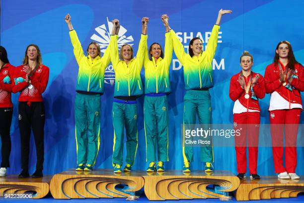 Gold medalists Shayna Jack Bronte Campbell Emma Mckeon and Cate Campbell pose during the medal ceremony for the Women's 4 x 100m Freestyle Relay...