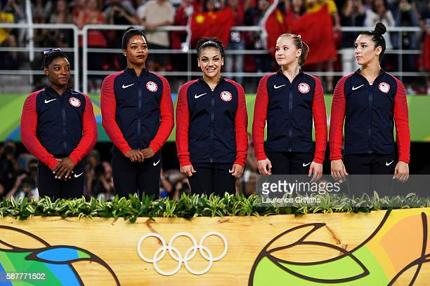 Gold Medalists Simone Biles Gabrielle Douglas Lauren Hernandez Madison Kocian and Alexandra Raisman of the United States ares seen in front of the...