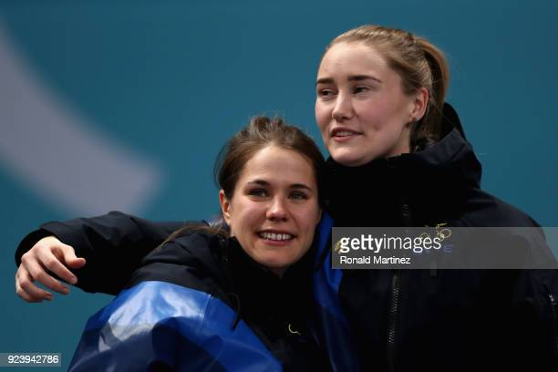 Gold medalists Sofia Mabergs of Sweden and Sara McManus of Sweden celebrate on the podium during the Women's Gold Medal Game between Sweden and Korea...