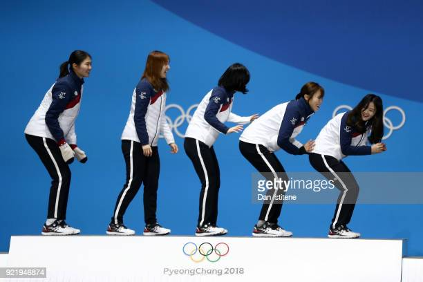 Gold medalists South Korea celebrate during the medal ceremony for the Ladies Short Track Speed Skating 3000m Relay on day twelve of the PyeongChang...