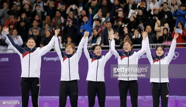 Gold medalists South Korea pose during the victory ceremony for the Ladies Short Track Speed Skating 3000m Relay on day eleven of the PyeongChang...