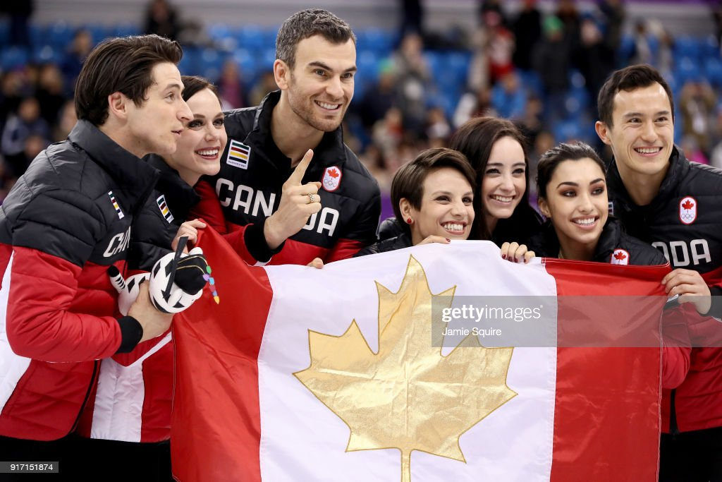 Gold medalists Team Canada celebrate after the Figure Skating Team Event on day three of the PyeongChang 2018 Winter Olympic Games at Gangneung Ice Arena on February 12, 2018 in Gangneung, South Korea.
