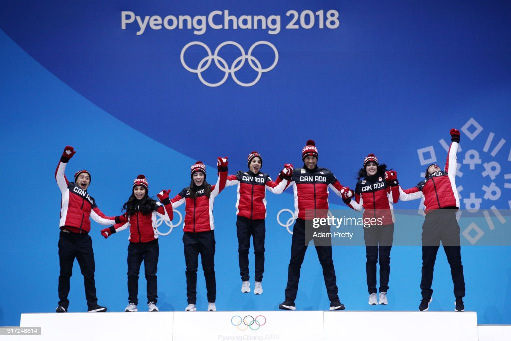 Gold medalists Team Canada celebrate during the medal ceremony after the Figure Skating Team Event at Medal Plaza on February 12, 2018 in Pyeongchang-gun, South Korea.