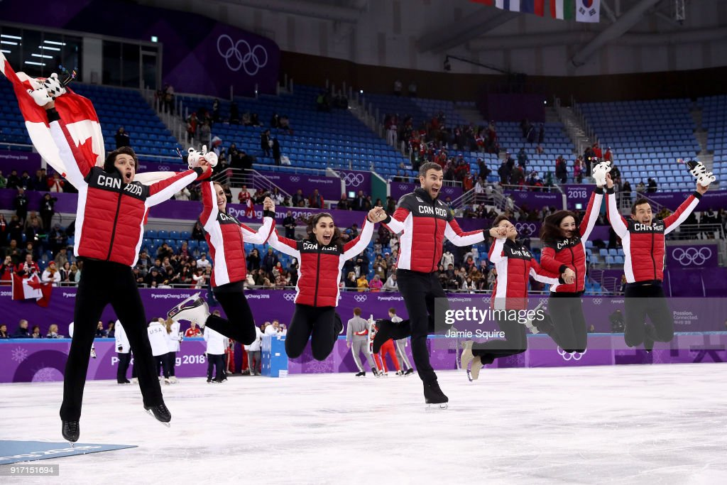 Gold medalists Team Canada celebrate during the victory ceremony after the Figure Skating Team Event on day three of the PyeongChang 2018 Winter Olympic Games at Gangneung Ice Arena on February 12, 2018 in Gangneung, South Korea.