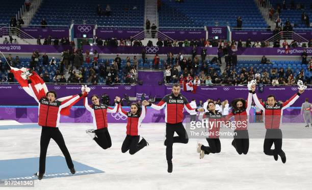 Gold medalists Team Canada celebrate during the victory ceremony after the Figure Skating Team Event on day three of the PyeongChang 2018 Winter...