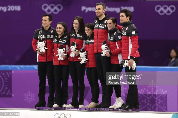 Gold medalists Team Canada celebrate on the podium in the victory ceremony after the Figure Skating Team Event – Ice Dance Free Dance on day three of...