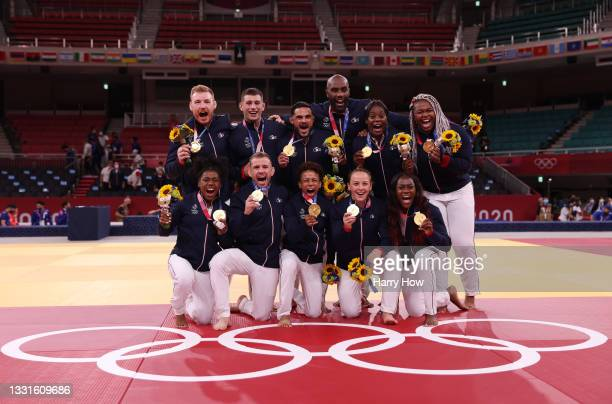 Gold Medalists Team France pose with their gold medals for Judo the Mixed Team Final on day eight of the Tokyo 2020 Olympic Games at Nippon Budokan...