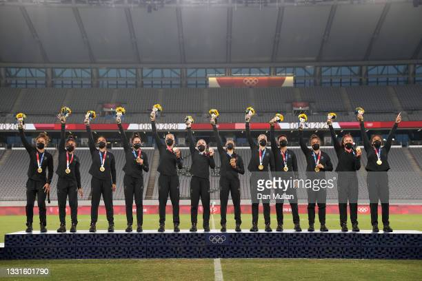 Gold medalists Team New Zealand pose with their gold medals during the Women's Rugby Sevens Medal Ceremony on day eight of the Tokyo 2020 Olympic...