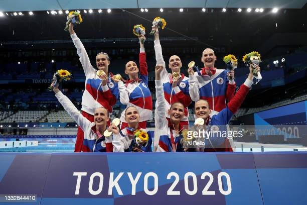 Gold medalists Team ROC pose after the medal ceremony for the Artistic Swimming Team Free Routine on day fifteen of the Tokyo 2020 Olympic Games at...