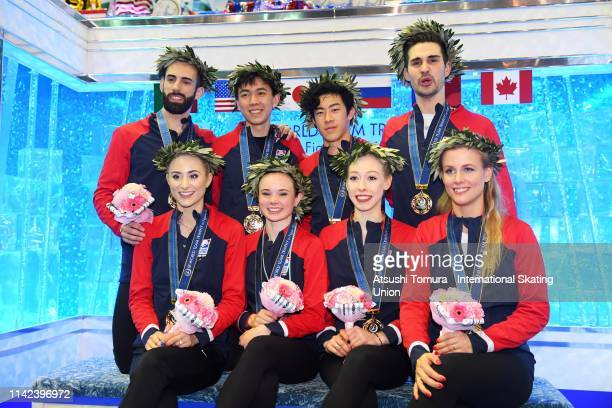 Gold medalists Team USA pose for photographs at the kiss and cry after the victory ceremony on day three of the ISU Team Trophy at Marine Messe...