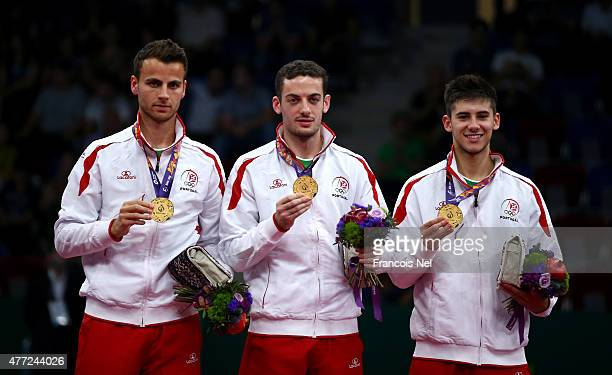 Gold medalists Tiago Apolonia Marcos Freitas and Joao Geraldo of Portugal pose during the medal ceremony for Men's Table Tennis Team Final on day...