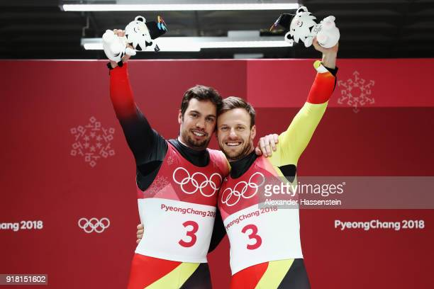 Gold medalists Tobias Wendl and Tobias Arlt of Germany celebrate during the victory ceremony after the Luge Doubles on day five of the PyeongChang...