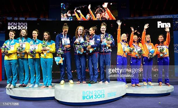 Gold Medalists US swimmer Megan Romano Shannon Vreeland Natalie Coughlin and Missy Franklin silver medalists Australia's Alicia Coutts Emma McKeon...
