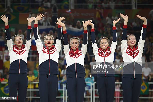 Gold medalists Vera Biriukova Anastasia Bliznyuk Anastasiia Maksimova Anastasiia Tatareva and Maria Tolkacheva of Russia celebrate during the medal...