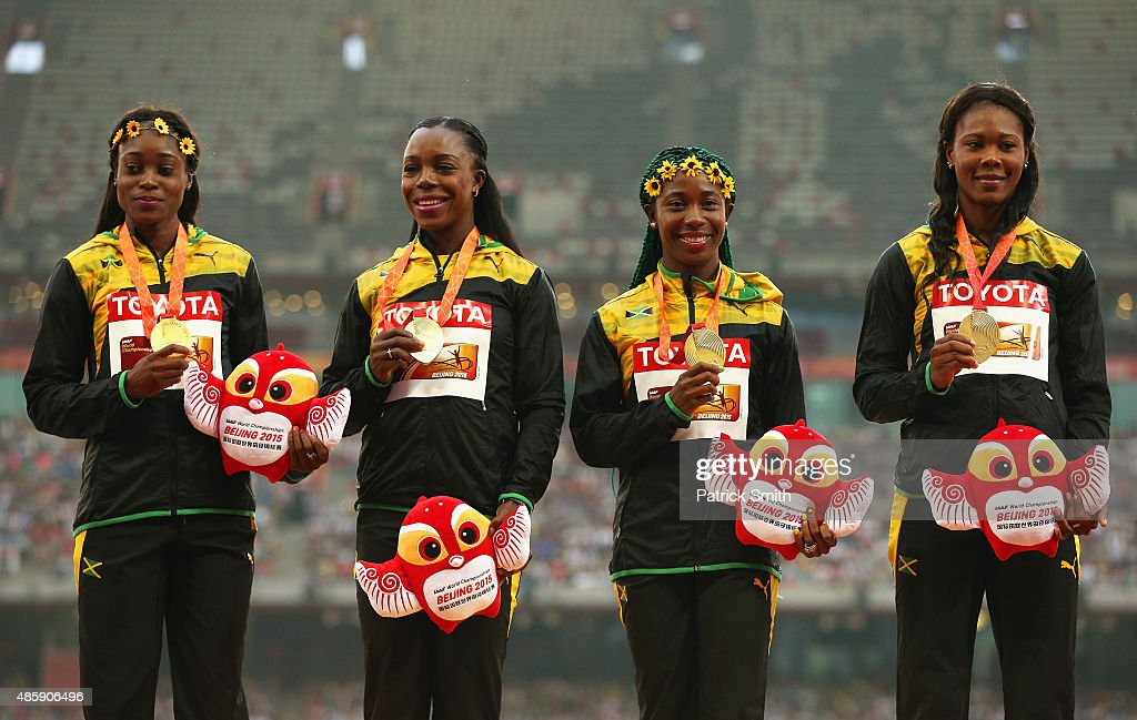 Gold medalists Veronica Campbell-Brown of Jamaica, Natasha Morrison of Jamaica, Elaine Thompson of Jamaica and Shelly-Ann Fraser-Pryce of Jamaica pose on the podium during the medal ceremony for the Women's 4x100 Metres Relay final during day nine of the 15th IAAF World Athletics Championships Beijing 2015 at Beijing National Stadium on August 30, 2015 in Beijing, China.