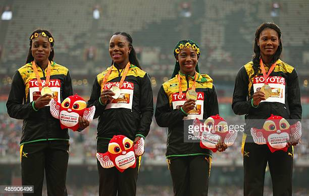 Gold medalists Veronica CampbellBrown of Jamaica Natasha Morrison of Jamaica Elaine Thompson of Jamaica and ShellyAnn FraserPryce of Jamaica pose on...