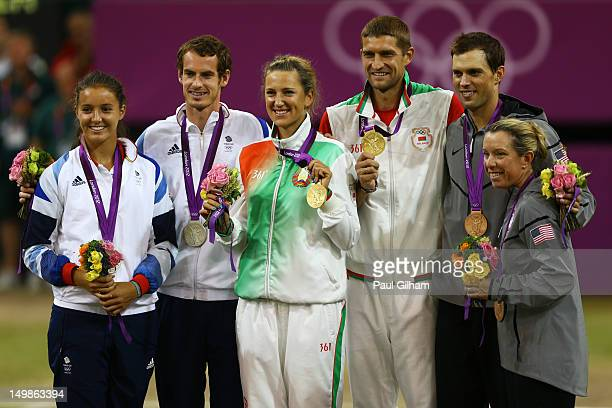 Gold medalists Victoria Azarenka of Belarus and Max Mirnyi of Belarus silver medalists Laura Robson of Great Britain and Andy Murray of Great Britain...