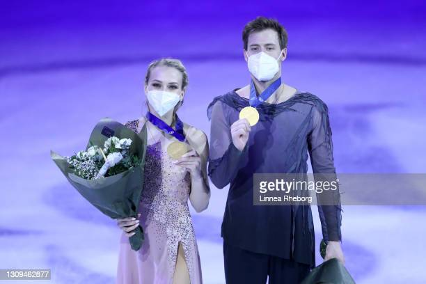 Gold medalists Victoria Sinitsina and Nikita Katsalapov of Figure Skating Federation of Russia pose for a photo during the medal ceremony for Ice...