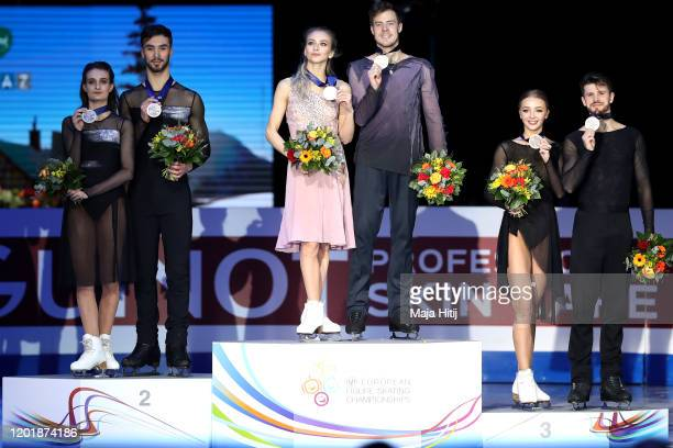 Gold medalists Victoria Sinitsina and Nikita Katsalapov silver medalists Gabriella Papadakis and Guillaume Cizeron of France and bronze medalists...