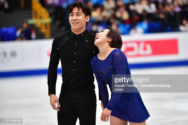 Gold medalists Wenjing Sui and Cong Han of China smile during day 2 of the ISU World Figure Skating Championships 2019 at Saitama Super Arena on...