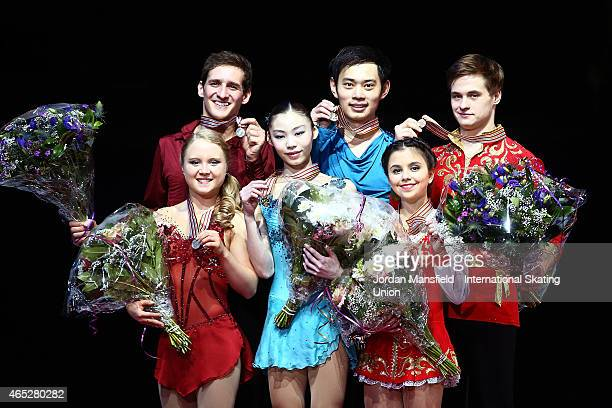 Gold medalists Yang Jin and Xiaoyu Yu of China Silver medalists Charlie Bilodeau and Julianne Seguin of Canada and Maxim Miroshkin and Lina Fedorova...