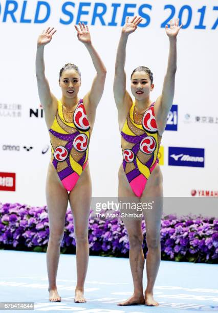 Gold medalists Yukiko Inui and Kanami Nakamaki of Japan celebrate after competing in the Duet Free Routine during day three of the Japan Open FINA...