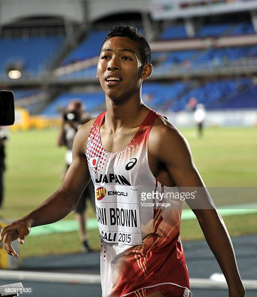 Gold medallist Abdul Hakim Sani Brown of Japan looks on after competing in Men's 100 Metres competes on Day 1 of IAAF World Youth Championships at...