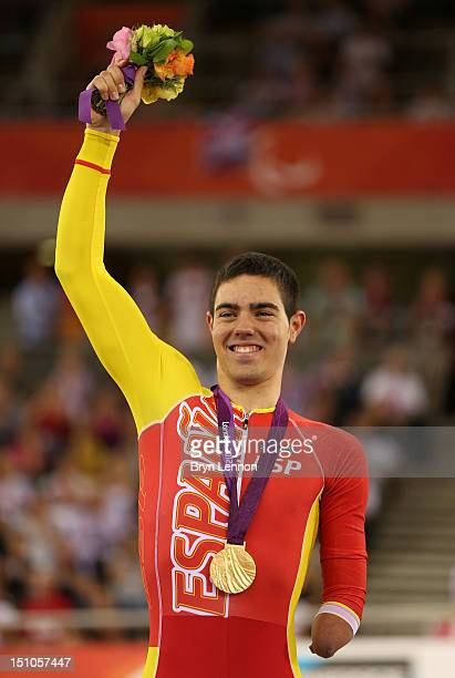 Gold medallist Alfonso Cabello of Spain poses on the podium during the medal ceremony for the Men's Individual C45 1km Cycling Time Trial final on...