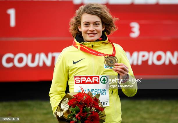Gold Medallist Alina Reh of Germany poses during the U23 Women's award ceremony during the SPAR European Cross Country Championships on December 10...
