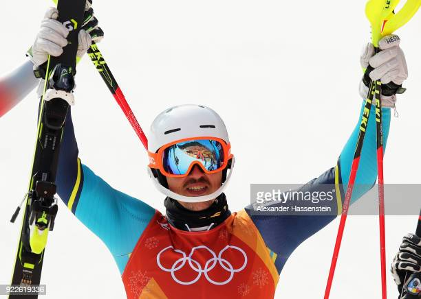 Gold medallist Andre Myhrer of Sweden celebrates during the Men's Slalom on day 13 of the PyeongChang 2018 Winter Olympic Games at Yongpyong Alpine...