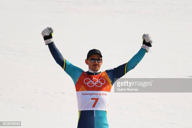 Gold medallist Andre Myhrer of Sweden celebrates during the victory ceremony for the Men's Slalom on day 13 of the PyeongChang 2018 Winter Olympic...