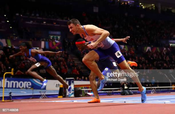 Gold Medallist, Andrew Pozzi of Great Britain dips for the line to win the Men's 60 Metres Hurdles Final during the IAAF World Indoor Championships...