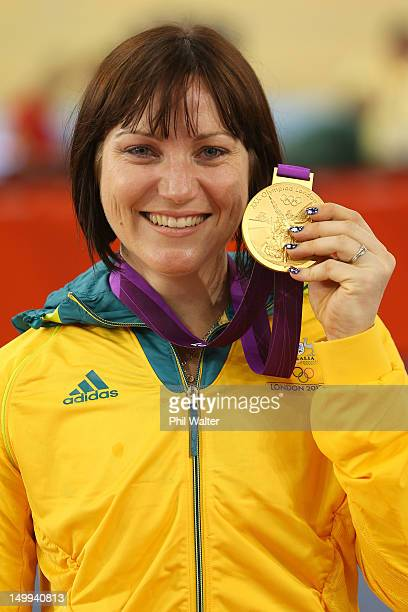 Gold medallist Anna Meares of Australia celebrates during the medal ceremony for the Women's Sprint Track Cycling Final on Day 11 of the London 2012...