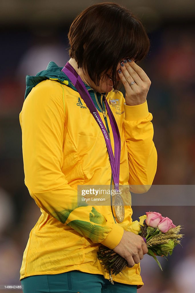 Gold medallist Anna Meares of Australia cries as she celebrates during the medal ceremony for the Women's Sprint Track Cycling Final on Day 11 of the London 2012 Olympic Games at Velodrome on August 7, 2012 in London, England.