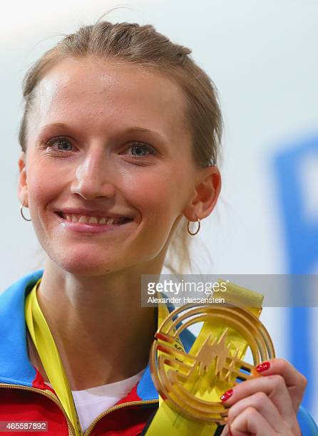 Gold medallist Anzhelika Sidorova of Russia on the podium during the medal ceremony for Women's Pole Vault during day three of the 2015 European...