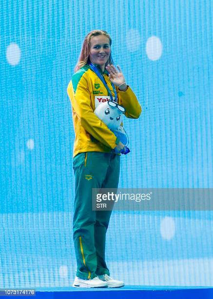 Gold medallist Ariarne Titmus of Australia poses on the podium after the women's 400m freestyle final at the 14th FINA World Swimming Championships...