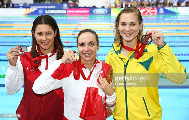Gold medallist Audrey Lacroix of Canada poses with silver medallist Aimee Willmott of England and bronze medallist Maddie Groves of Australia after...