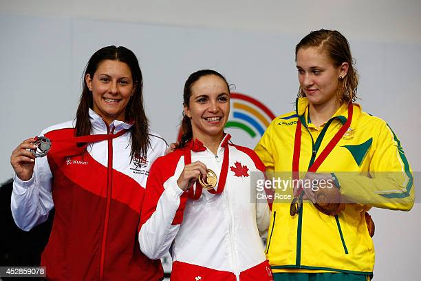 Gold medallist Audrey Lacroix of Canada poses with silver medallist Aimee Willmott of England and bronze medallist Maddie Groves of Australia during...