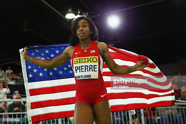 Gold medallist Barbara Pierre of the United States celebrates after the Women's 60 Metres Finalduring day three of the IAAF World Indoor...