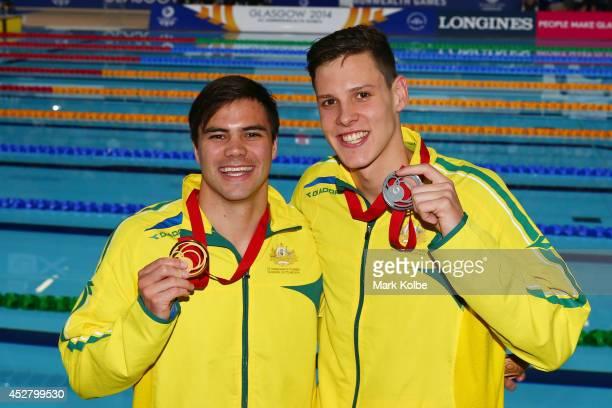 Gold medallist Ben Treffers of Australia poses with silver medallist Mitch Larkin of Australia after the medal ceremony for the Men's 50m Backstroke...