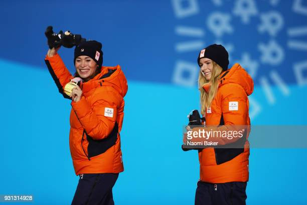 Gold medallist Bibian MentelSpee of Netherlands and Silver medallist Renske van Beek of the Netherlands celebrate during the medal ceremony for the...