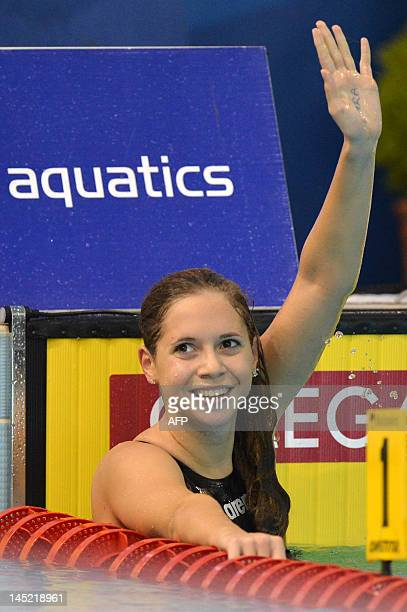 Gold medallist Boglarka Kapas celebrates after competing in the final of the women's 800metre freestyle swimming event in the 31st European Swimming...