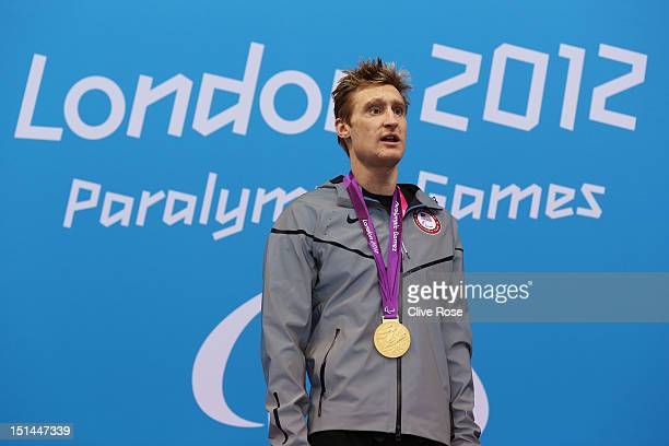 Gold medallist Bradley Snyder of the United States poses on the podium during the medal ceremony for the Men's 400m Freestyle S11 final on day 9 of...