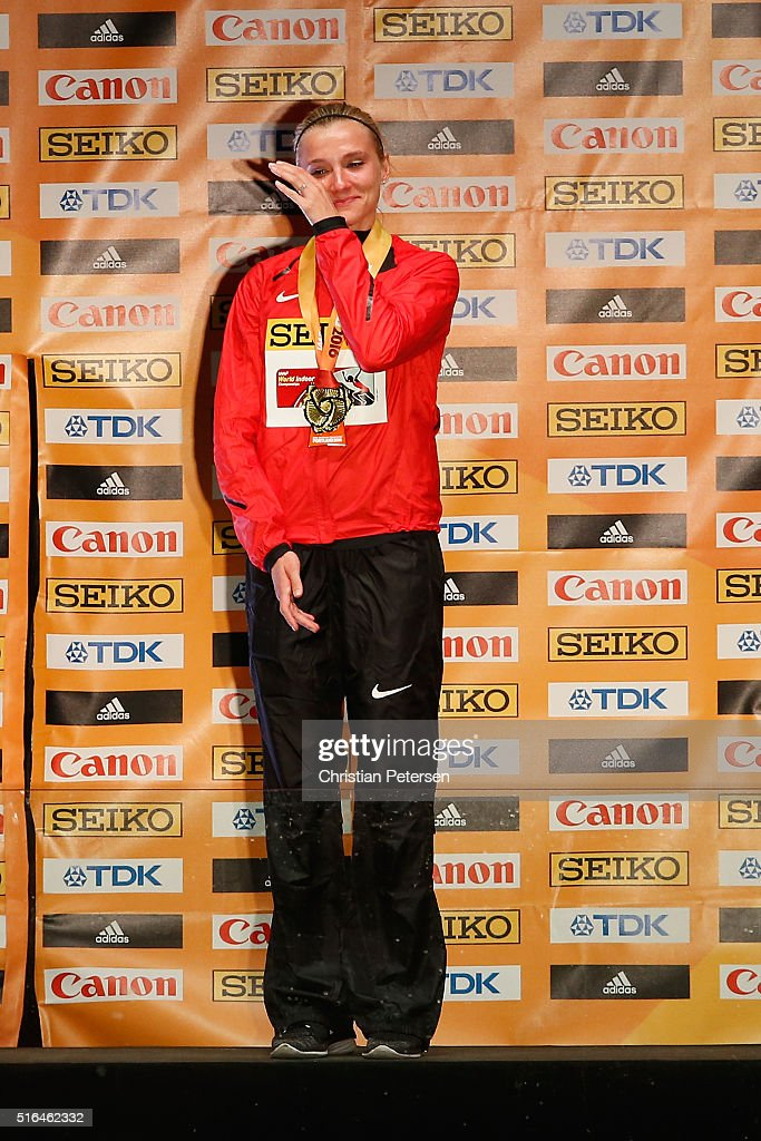 Gold medallist Brianne Theisen Eaton of Canada poses on the podium during the medal ceremony for the Women's Pentathlon during day two of the IAAF World Indoor Championships at Pioneer Courthouse Square on March 18, 2016 in Portland, Oregon.