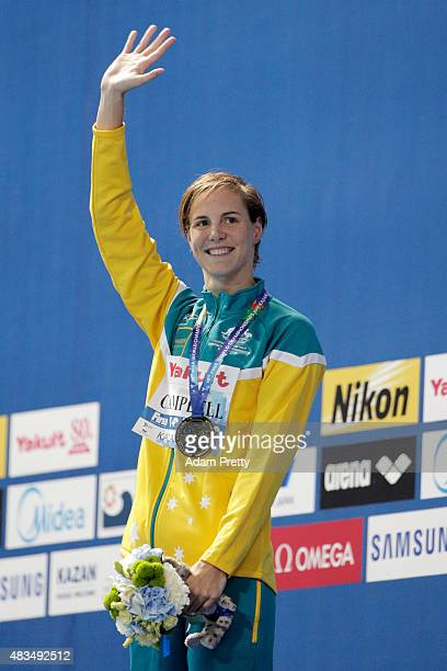 Gold medallist Bronte Campbell of Australia celebrates during the medal ceremony for the Women's 50m Freestyle Final during day sixteen of the 16th...